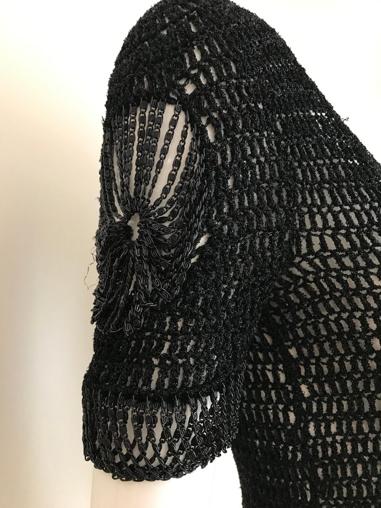 Vintage Loris Azzaro Black Knit Top with Chains For Sale 5