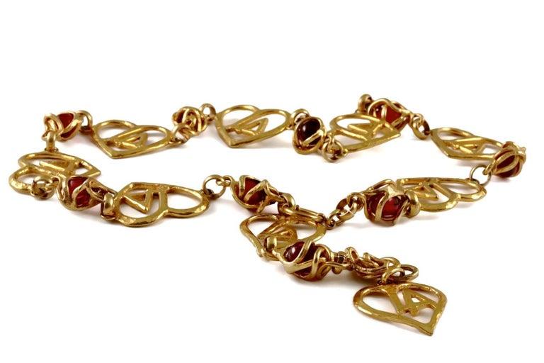 Women's Vintage LORIS AZZARO Logo Heart Caged Poured Glass Necklace Belt For Sale