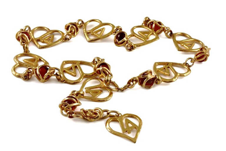 Vintage LORIS AZZARO Logo Heart Caged Poured Glass Necklace Belt For Sale 1