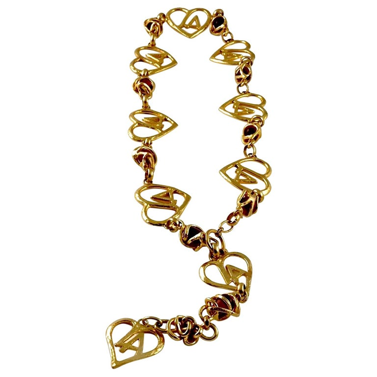 Vintage LORIS AZZARO Logo Heart Caged Poured Glass Necklace Belt For Sale