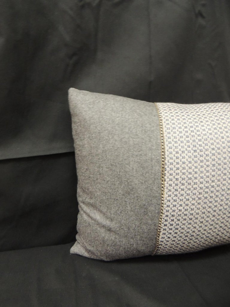 Vintage Loro Piana Cashmere decorative lumbar pillow. Grey pillow with woven grey and blue Swedish textile inset and grey silk backing. Accentuated with a small gold and black woven decorative trim. Decorative pillow handcrafted and designed in the