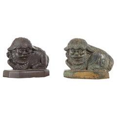 Vintage Lost Wax Cast Bronze Foo Dog Sculptures with Bronze or Verde Patina