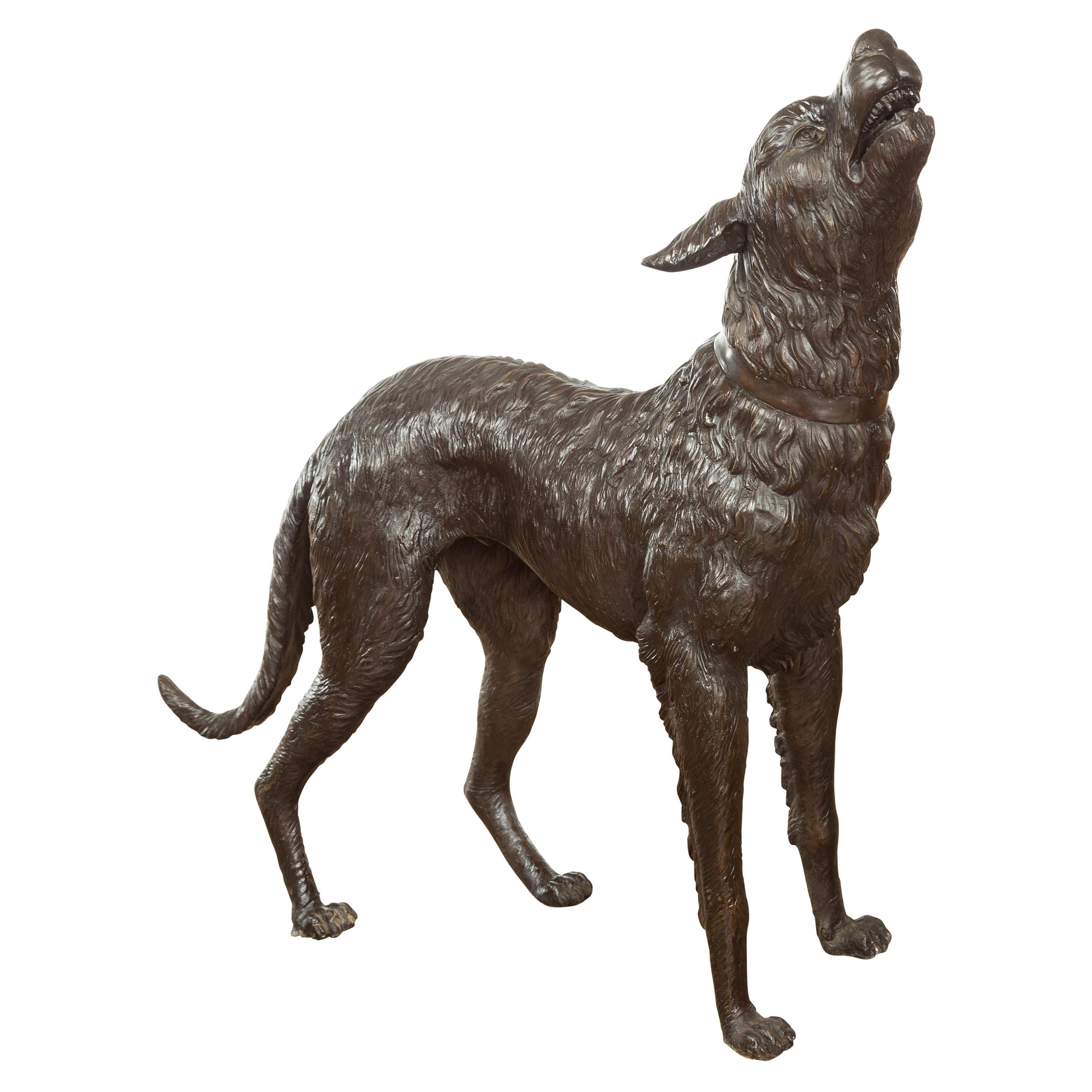 Vintage Lost Wax Cast Bronze Sculpture of a Howling Dog with Textured Patina