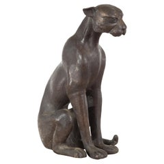 Vintage Lost Wax Cast Bronze Statue of a Sitting Cat with Bronze Patina
