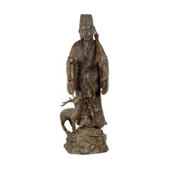Vintage Lost Wax Cast Bronze Statuette of a Chinese Ancestral Figure