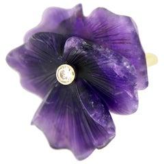 Vintage Lotus Flower Amethyst and Diamond Ring, 14 Karat Gold