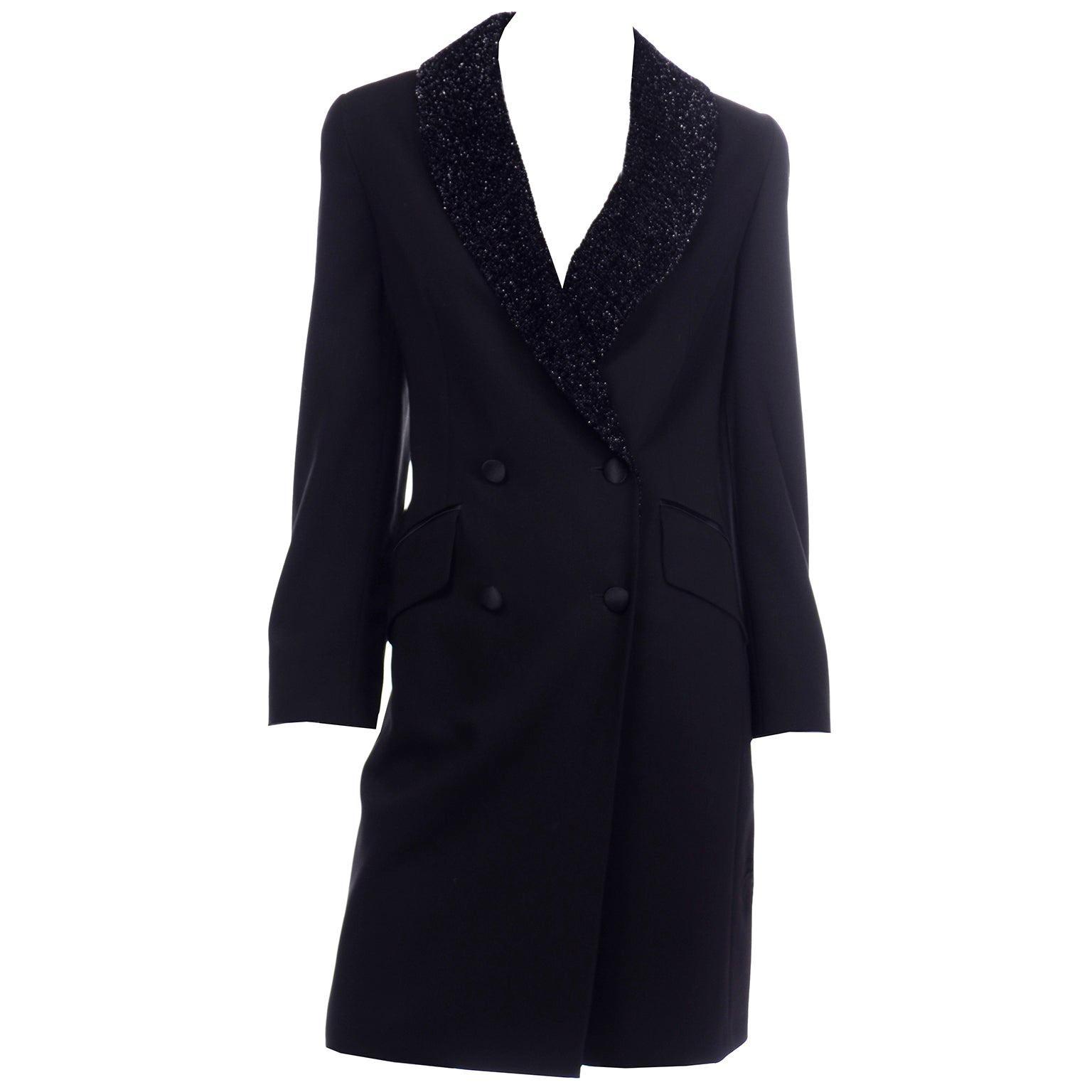 Vintage Louis Feraud Black Blazer Style Evening Coat w Sparkle Fuzzy Lapels
