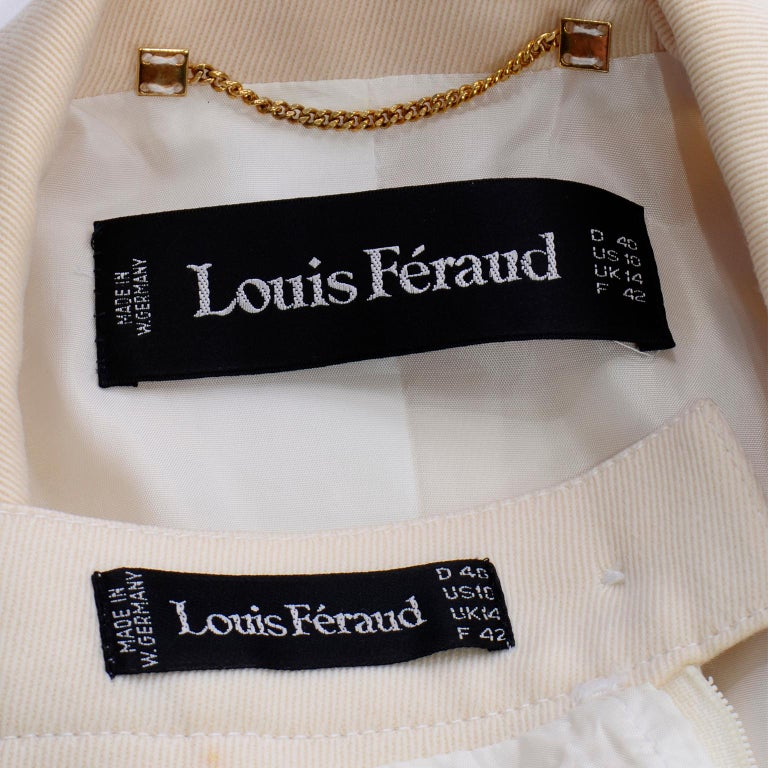 Vintage Louis Feraud Cream Jacket and Skirt Suit 1980s For Sale 6