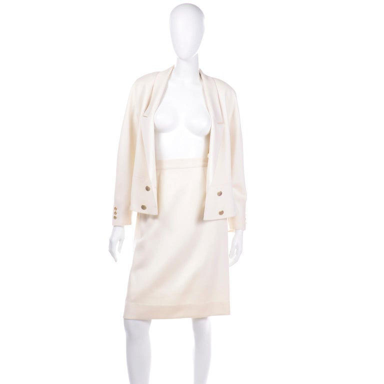 Vintage Louis Feraud Cream Jacket and Skirt Suit 1980s For Sale 2
