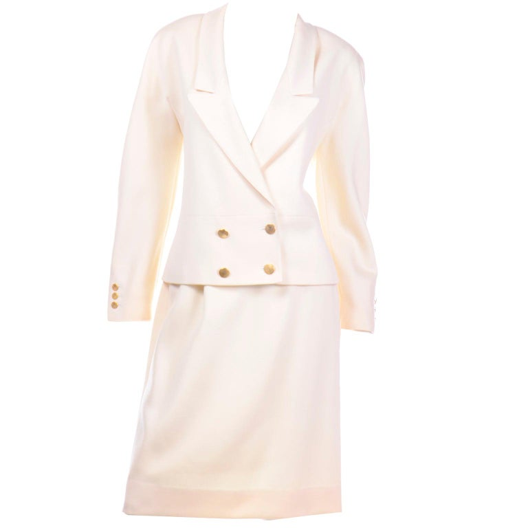 Vintage Louis Feraud Cream Jacket and Skirt Suit 1980s For Sale
