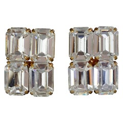 Vintage LOUIS FERAUD Crystal Rectangular Earrings