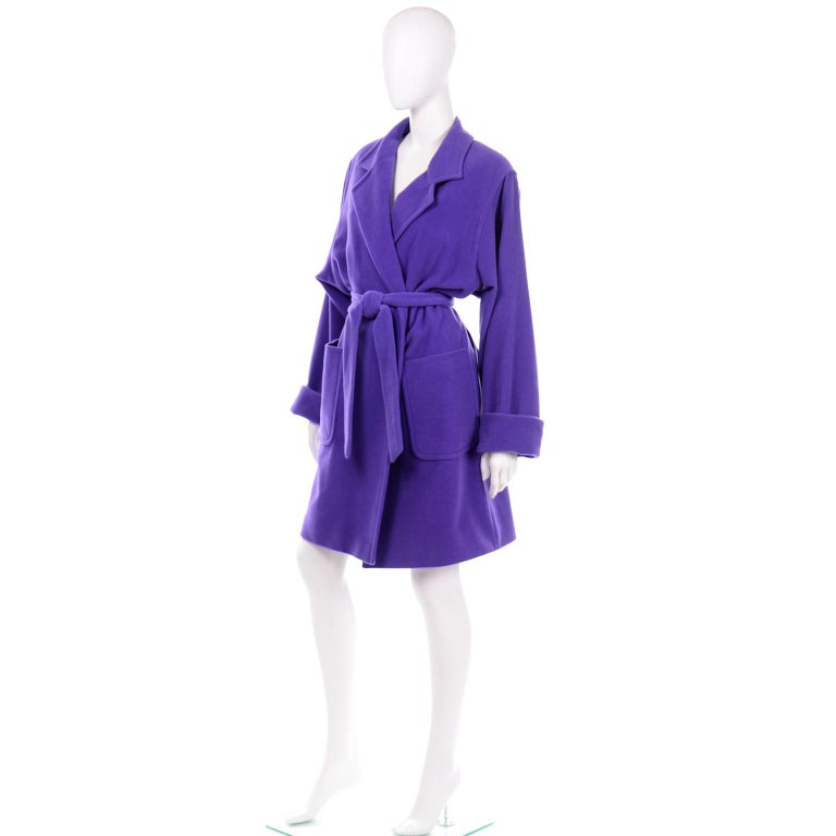Vintage Louis Feraud Deep Purple Angora and Wool Trench Style Coat With Belt In Excellent Condition For Sale In Portland, OR