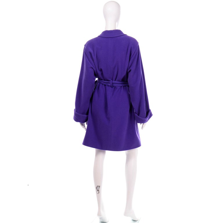 Women's Vintage Louis Feraud Deep Purple Angora and Wool Trench Style Coat With Belt For Sale