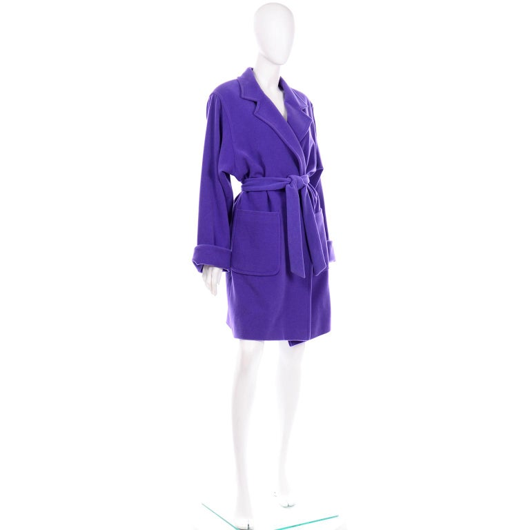 Vintage Louis Feraud Deep Purple Angora and Wool Trench Style Coat With Belt For Sale 1