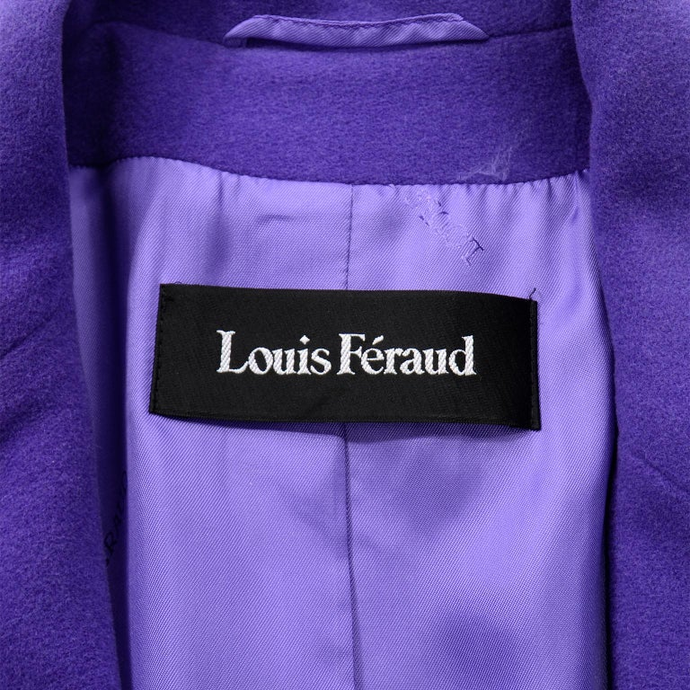 Vintage Louis Feraud Deep Purple Angora and Wool Trench Style Coat With Belt For Sale 3