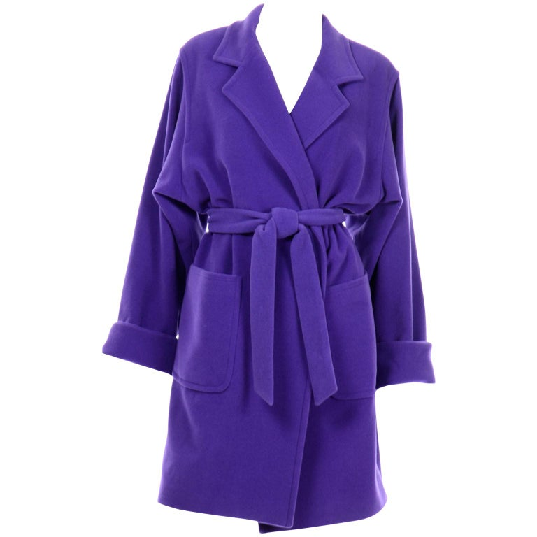 Vintage Louis Feraud Deep Purple Angora and Wool Trench Style Coat With Belt For Sale