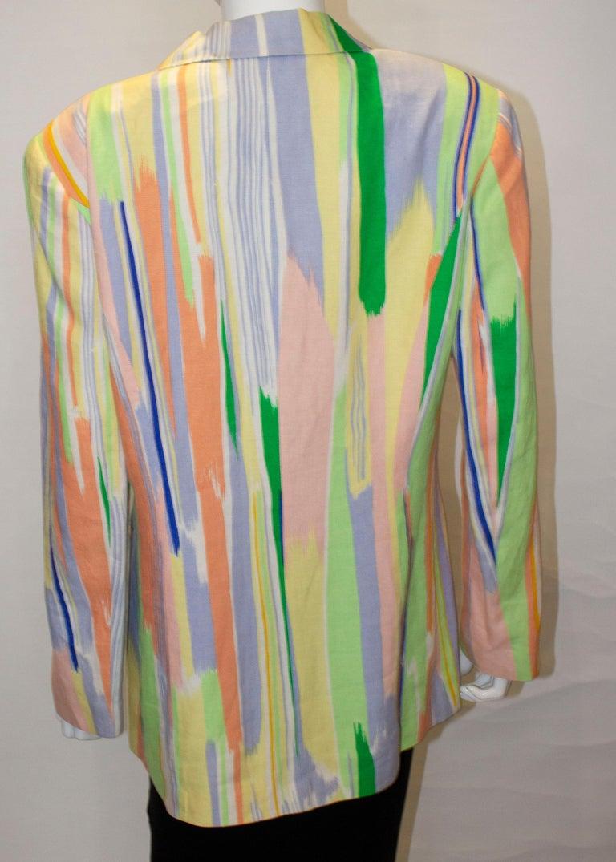 Vintage Louis Feraud Multi Colour Linen Jacket For Sale 5