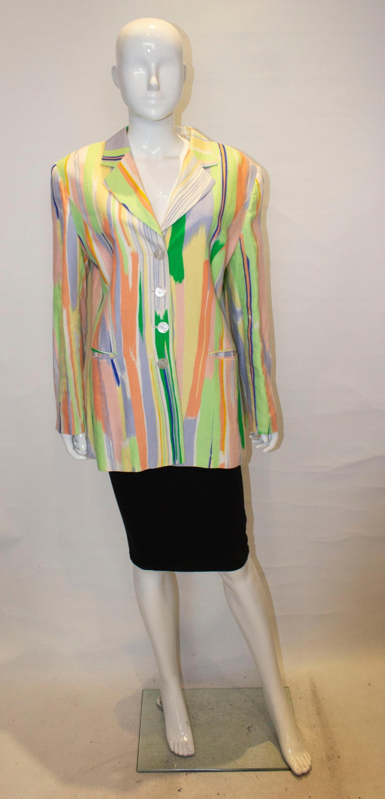 A fun jacket for Spring by Louis Feraud. The jacket is in linen, fully lined and has two pockets.