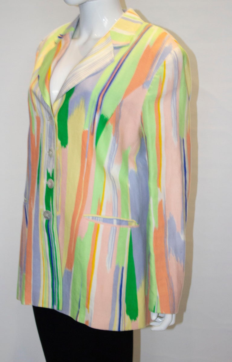 Vintage Louis Feraud Multi Colour Linen Jacket In Good Condition For Sale In London, GB