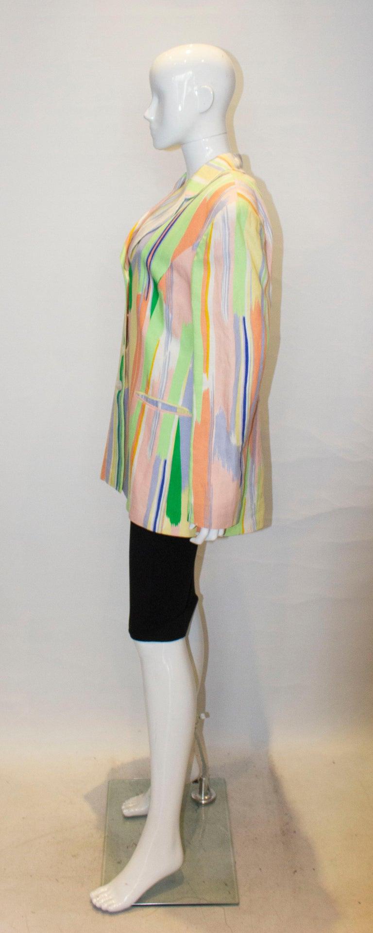 Women's Vintage Louis Feraud Multi Colour Linen Jacket For Sale
