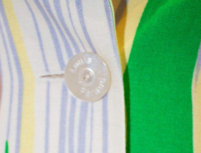 Vintage Louis Feraud Multi Colour Linen Jacket For Sale 2