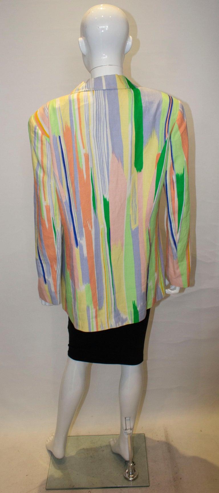 Vintage Louis Feraud Multi Colour Linen Jacket For Sale 4