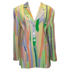Vintage Louis Feraud Multi Colour Linen Jacket