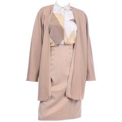 Vintage Louis Feraud Tan 3 Piece Skirt Blouse & Jacket Suit Outfit