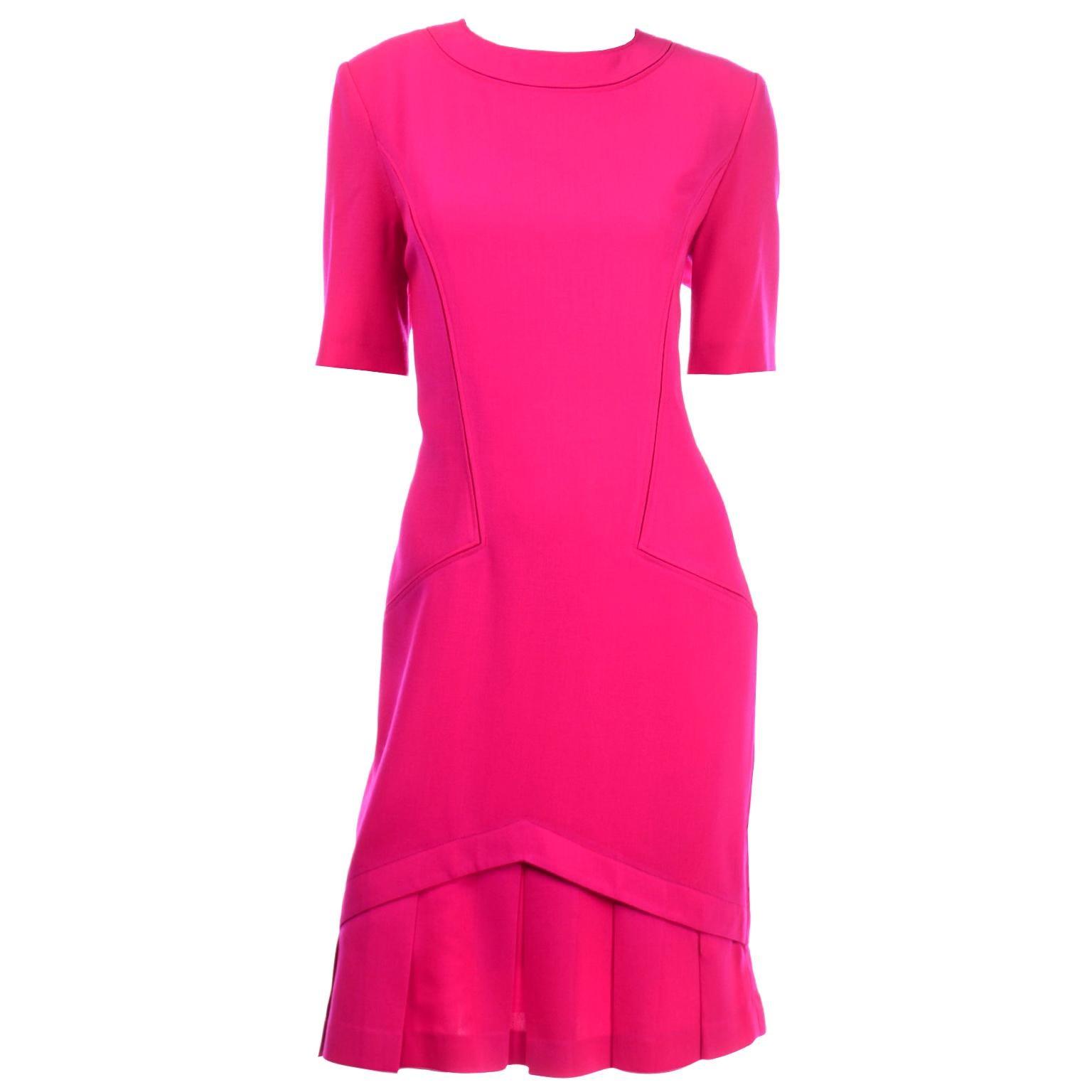 Vintage Louis Feraud Vintage Bright Hot Pink Short Sleeve Spring Summer Dress