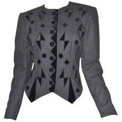 Vintage Louis Feraud Wool, Velvet Jacket