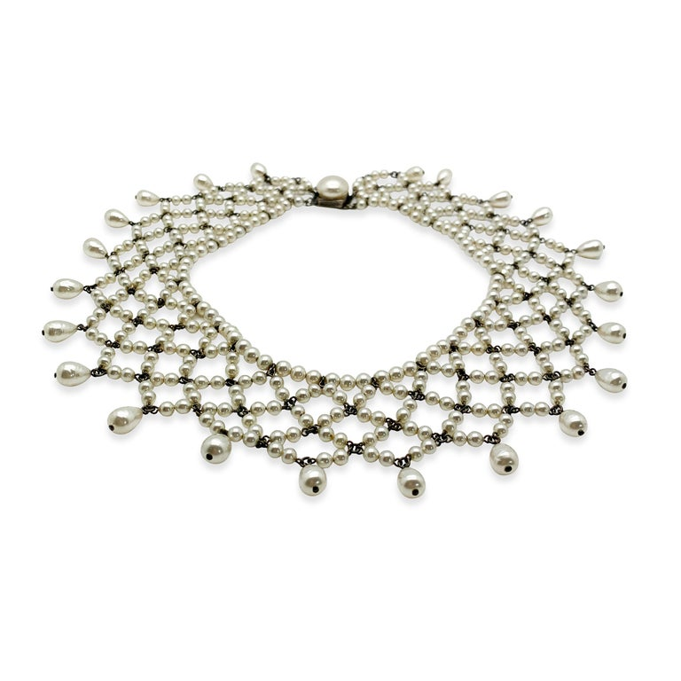 A truly beautiful, timeless Vintage Louis Rousselet Collar created in Paris. Crafted in silver tone metal and glass pearls. Featuring a lacey style collar of beautiful lustrous, most likely poured glass pearls, including round and teardrop and