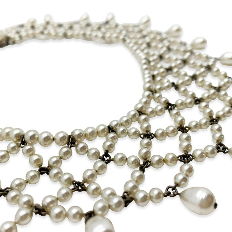 Vintage Louis Rousselet Glass Pearl Lace Style Collar 1930s In Good Condition For Sale In Wilmslow, GB