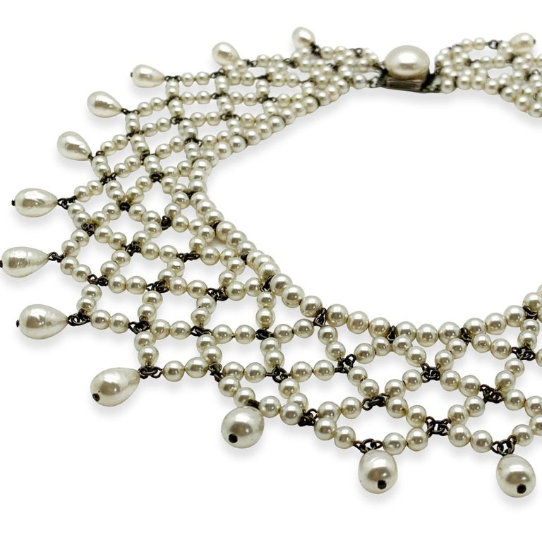 Women's or Men's Vintage Louis Rousselet Glass Pearl Lace Style Collar 1930s For Sale