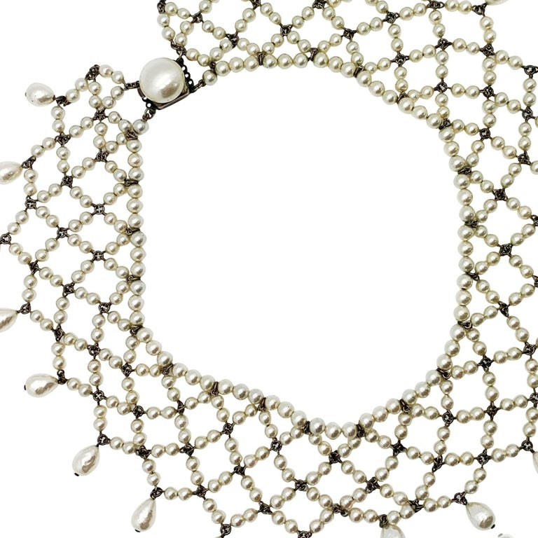 Vintage Louis Rousselet Glass Pearl Lace Style Collar 1930s For Sale 1