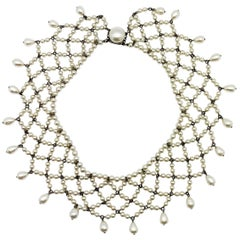 Vintage Louis Rousselet Glass Pearl Lace Style Collar 1930s