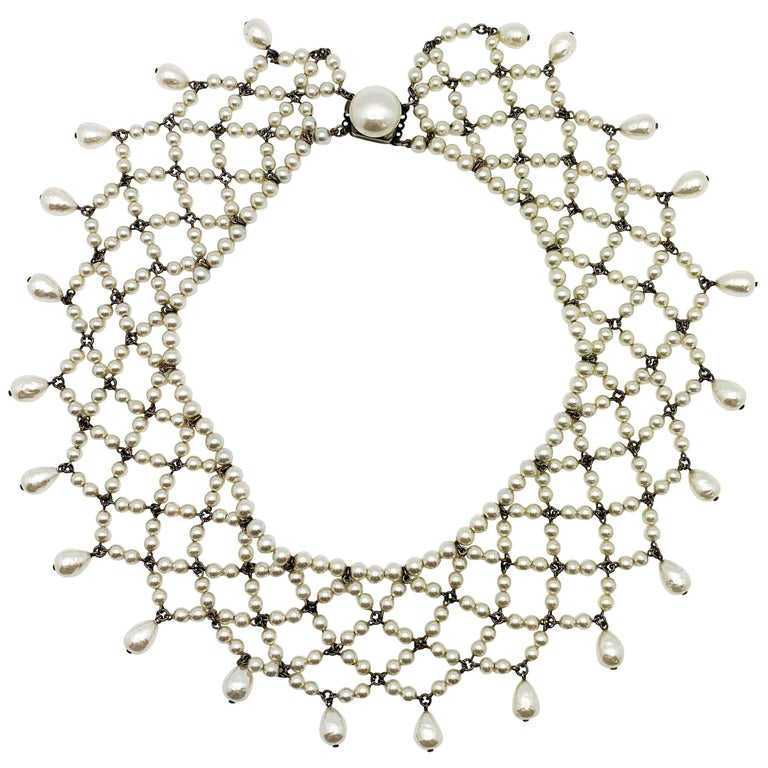 Vintage Louis Rousselet Glass Pearl Lace Style Collar 1930s For Sale