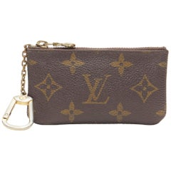 vintage LOUIS VUITTON brown monogram canvas top zip small pouch coins bag