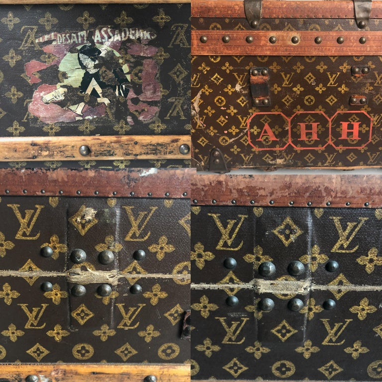 Vintage Louis Vuitton Cabin Trunk with Insert Monogram Canvas 1960s Saks 5th Ave For Sale 6