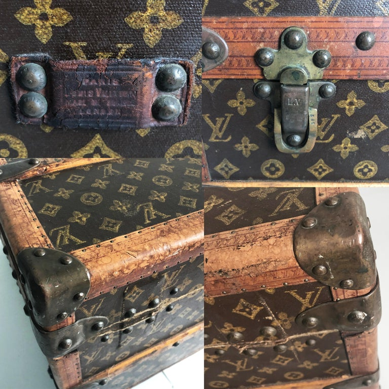 Vintage Louis Vuitton Cabin Trunk with Insert Monogram Canvas 1960s Saks 5th Ave For Sale 7