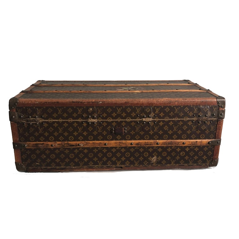 Women's or Men's Vintage Louis Vuitton Cabin Trunk with Insert Monogram Canvas 1960s Saks 5th Ave For Sale