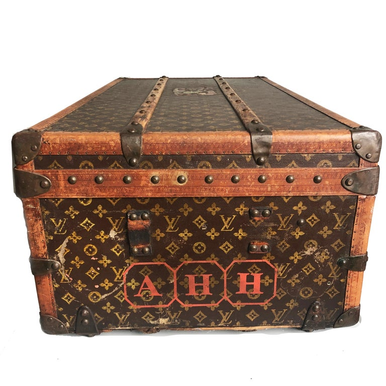 Vintage Louis Vuitton Cabin Trunk with Insert Monogram Canvas 1960s Saks 5th Ave For Sale 1