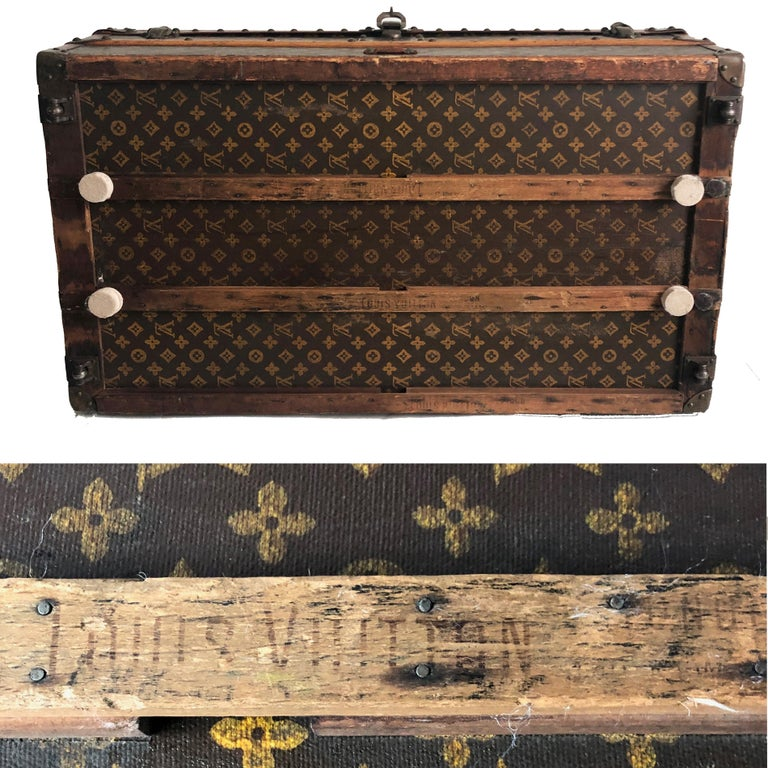 Vintage Louis Vuitton Cabin Trunk with Insert Monogram Canvas 1960s Saks 5th Ave For Sale 2