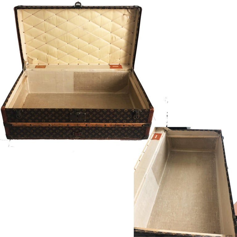 Vintage Louis Vuitton Cabin Trunk with Insert Monogram Canvas 1960s Saks 5th Ave For Sale 4