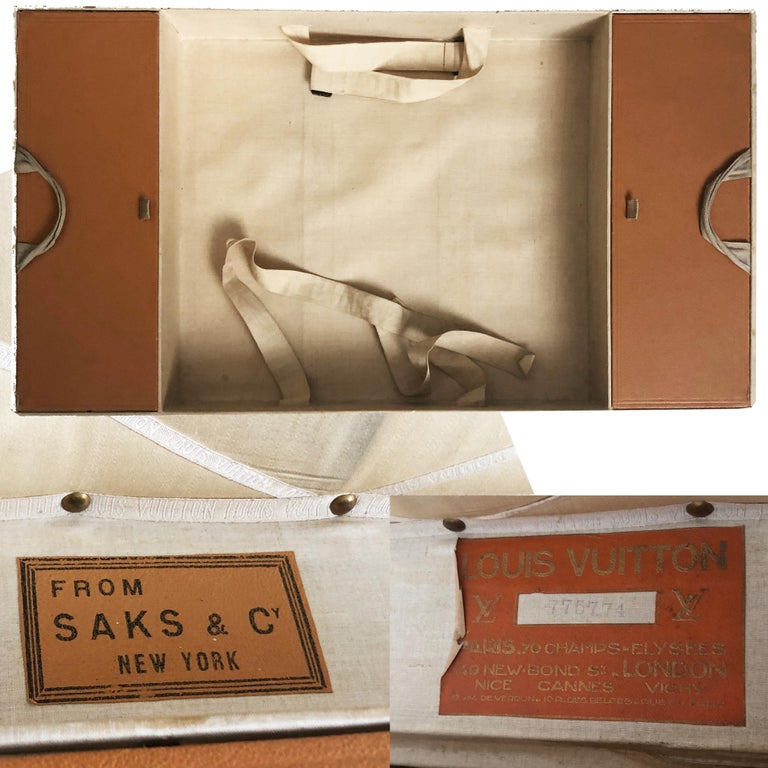 Vintage Louis Vuitton Cabin Trunk with Insert Monogram Canvas 1960s Saks 5th Ave For Sale 5