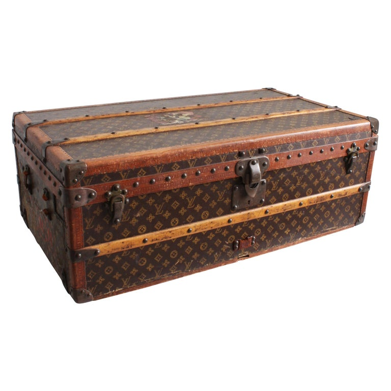 Vintage Louis Vuitton Cabin Trunk with Insert Monogram Canvas 1960s Saks 5th Ave For Sale