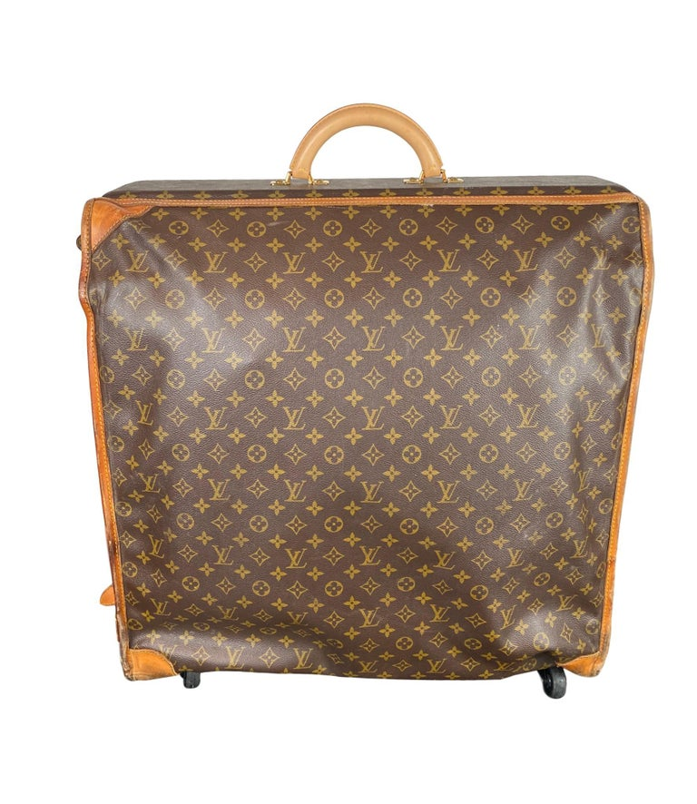 Brown Vintage Louis Vuitton Large Folding Garment Monogram Luggage, circa 1970. For Sale