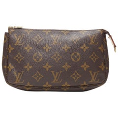 vintage LOUIS VUITTON monogram logo canvas leather trimmed top zip pouch bag