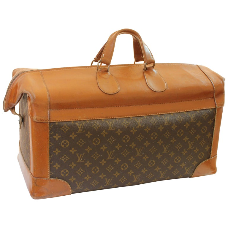 Vintage Louis Vuitton Monogram Travel Bag Steamer Keepall Doctors Bag Rare 70s  For Sale