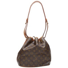 vintage LOUIS VUITTON Petite Noe brown monogram canvas drawstring bucket bag