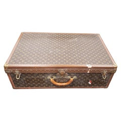 Vintage Louis Vuitton Signature Brown Leather Embossed Trunk, 20th Century